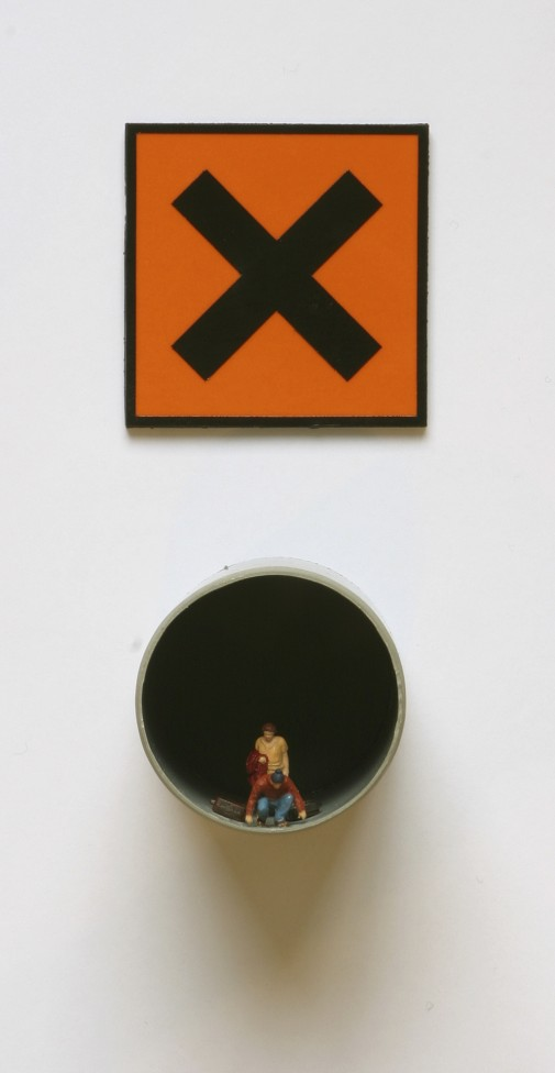 The Plague # 1, 2009, Tube and plexiglas plate, vinyl sticker and model figures, 15 x 6 x 7 cm