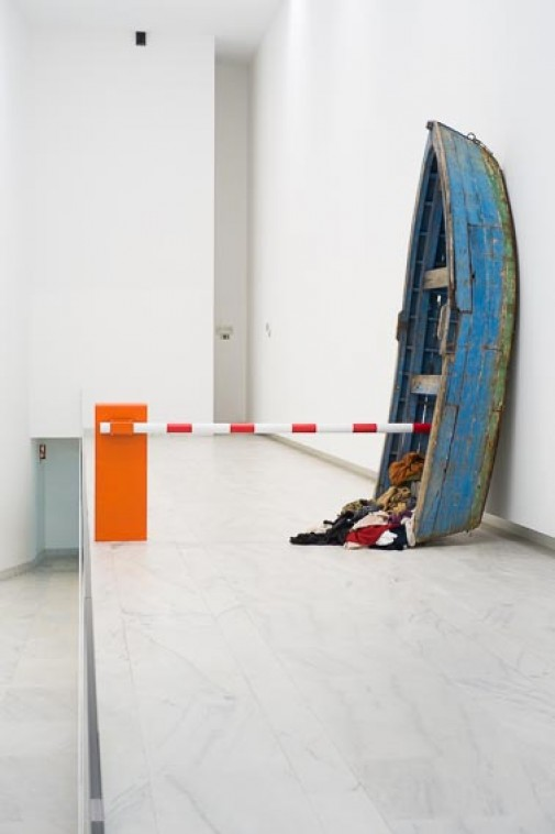 Mare Clausum, 2015, Boat, parking barrier and clothes, 330 x 340 x 150 cm