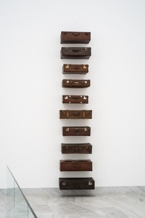 "Excelsior Springs, 2015, Travel suitcases, 390 x 82 x 44 cm  (View of the work at ""Ignoto"" exhibition, CAS - Arts Center of Sines)"