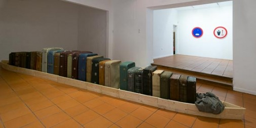 "Cargo, 2015, Wood, travel suitcases and fabric, 85 x 770 x 60 cm (View of the work at ""Ignoto"" exhibition, Emmerico Nunes Cultural Center, Sines)"