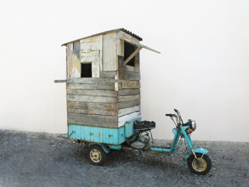 Weekend, 2012, Moto tricycle, wood, PVC plate, nylon rope and springs clothing, 295 x 225 x 125 cm