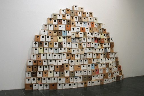 Hill, 2011, Wood and acrylic, variable dimensions (250 x 250 x 30 cm aprox.)