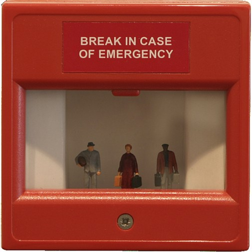 """Immigrants # 4"", 2009, Fire alarm box, cardboard and model figures, 8,5 x 8,5 x 5 cm"