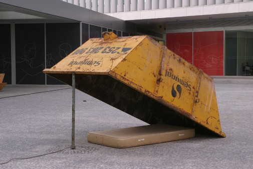 Clandestines, 2010/2011, Waste container, iron pipe, mattress and rope; Variable dimensions (container dim. 120 x 400 x 180 cm)