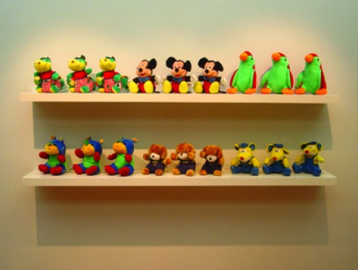 Made in Childhood, 2005, Soft toys and wooden shelves, 80 x 190 x 26 cm