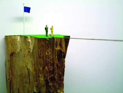 Canyon, 2008, Wood, earth, rope, artificial grass and model figures, Variable dimensions